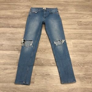French Connection High Waist Distressed Skinny 8